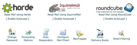 Screenshot of Webmail Control Panel